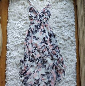 White pink grey floral hilow spaghetti strap dress